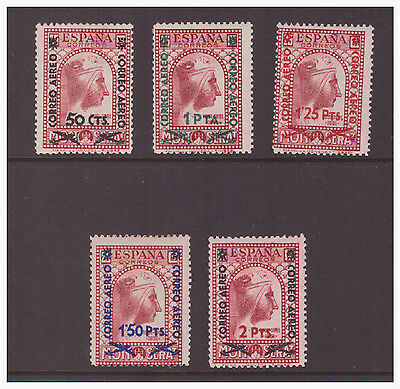 Spain 1938 Air  Black Virgin of Montserrat Surcharged mint hinged set SG851-855