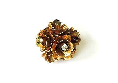 Vintage Gold Tone Clear Rhinestone Clustered Flowers Cocktail Statement Ring 5.5