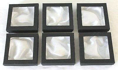 6 Black Square Jewellery Gift Boxes with Clear Window Drop-On Lid * Brand New