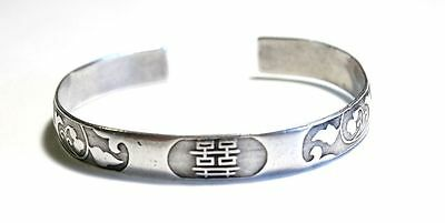 Rare Qing Dynasty Chinese Silver Wedding Bracelet Cuff Bangle Signed Handmade