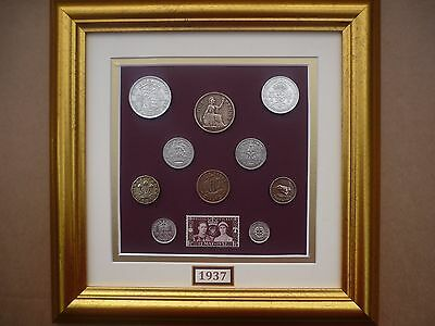 FRAMED 1937 COIN SET 80th  BIRTHDAY / ANNIVERSARY GIFT IN  2017