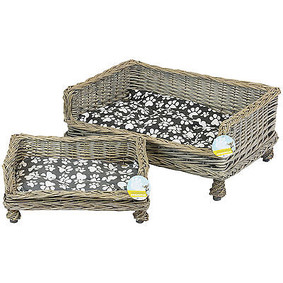 Me & My Pets Raised Wicker Pet Bed Basket Puppy/dog/cat/kitten Washable Cushion