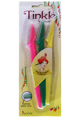 Tinkle 3 Pack Eyebrow Razors Sharp Cosmetics Beauty Shaper Pink Green Yellow
