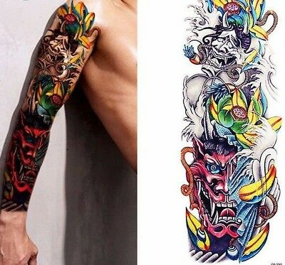 Red Dragon Twins Arm Temporary Tattoo Stickers Body Art 3D Tatoo Waterproof UK