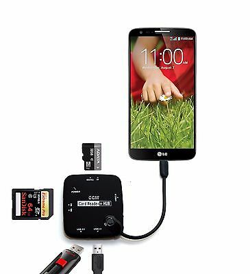 Micro USB Host Adapter OTG Cable Hub SDHC SD TF MS Card Reader Smartphone LG G2
