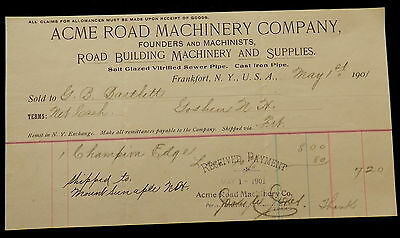 Billhead ACME ROAD MACHINERY Co  - FRANKFORT NY - 1901 - SUPPLIES - SEWER PIPES