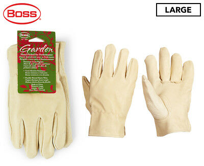 Boss Women's Large Leather Driver Gardening Gloves - Cream
