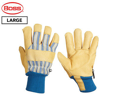 Boss Large Insulated Pigskin Leather Palm Work Gloves - Yellow/Blue