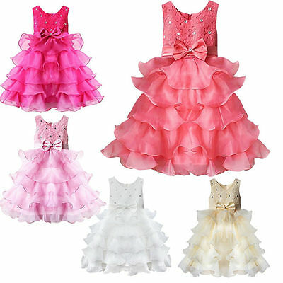 Baby Girls Dress Flower Girl Holy Communion Wedding Birthday Party Princess Gown