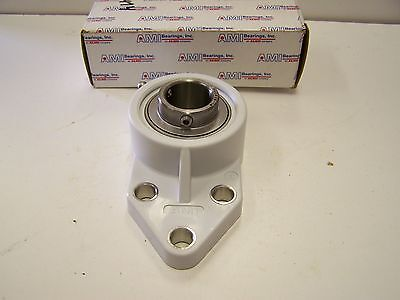 """AMI MUCFBL205-16W Corrosion Resistant 3-Bolt Flange Bracket Bearing 1"""" Stainless"""