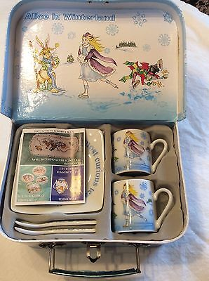 2010 Alice In Wonderland Paul Cardew 3oz China Cups, Saucers, & Spoons Set/2
