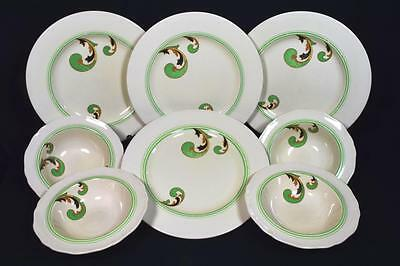 Royal Doulton Art Deco Pottery 8 Plates and Bowls, Lynn Pattern, C.1930