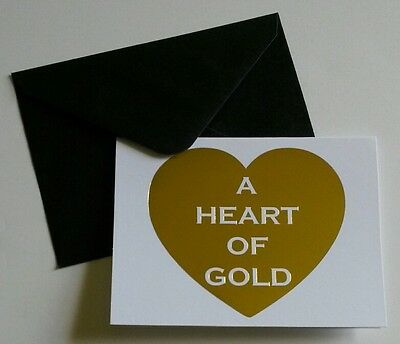Set of 10 Blank Notecards Greeting Cards ~  A Heart Of Gold White Black