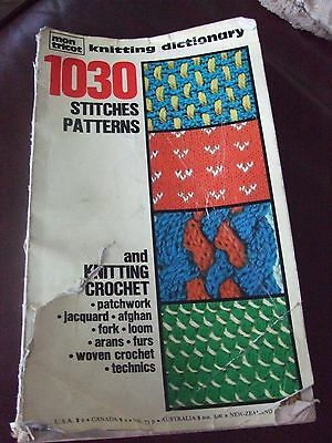 Knitting Dictionary 1030 Stitches Patterns : Vintage Rare Mon Tricot Knitting & Crochet Dictionary Pattern Book 1030 S...