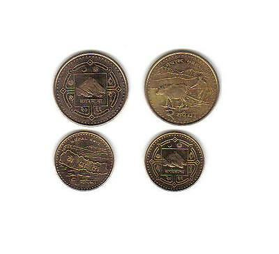 Nepal Uncirculated 2009 Coin Pair, 1 & 2 Rupees