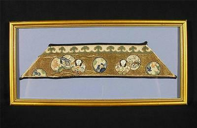 Antique 19thC. Chinese Embroidered Silk Sleeve/Cuff Band, Framed