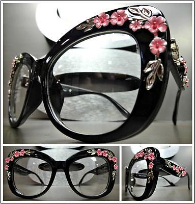 VINTAGE RETRO Style Clear Lens EYE GLASSES Large Black Frame Silver Pink Floral