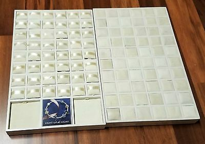 Lot of 2 Different Authentic PANDORA Jewelry Counter Display Trays White Cushion