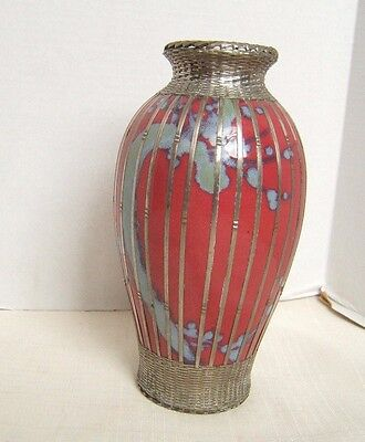Japanese Porcelain & Silver Wire Vase Exc Colors & Silver Work