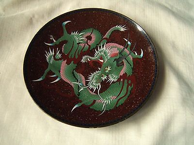 Japanese Cloisonne Charger Dragon Goldstone Exc Quality
