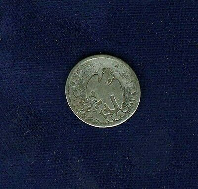 MEXICO EMPIRE OF MAXIMILIAN 1864-Mo 10 CENTAVOS SILVER COIN, CIRCULATED, VG+