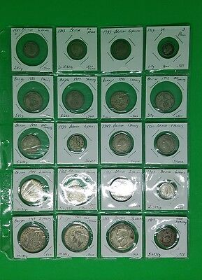 British Silver Coins 20 coin lot 1908 - 1950