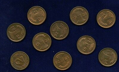 GERMANY WEIMAR REP. 1924-D 2 RENTENFPENNIG GROUP LOT OF (10), AU to UNCIRCULATED