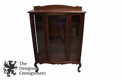 Antique Victorian Queen Anne Mahogany China Cabinet Glass Front Bookcase 3 Panel