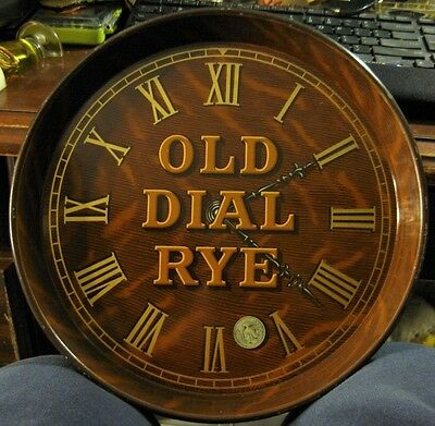 Vintage Old Dial Rye Whiskey Clock Face Tin Litho Tray Bowling Green Distillery