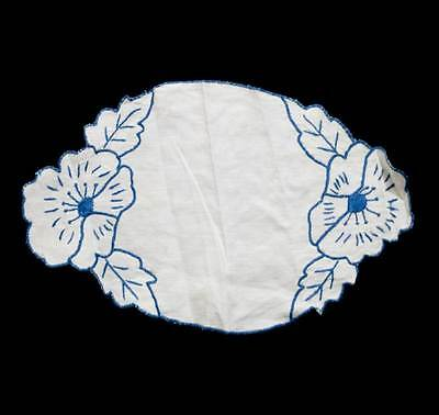 Vintage blue & white embroidered oval floral doily measuring 36cm long
