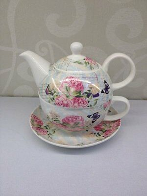 Rose with Butterfly 3 piece TEA FOR ONE teapot and teacup set