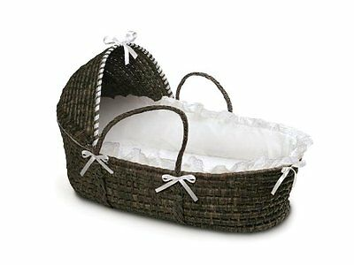 Badger Basket Moses with Hood and Bedding Espresso/White Baskets Nursery Baby