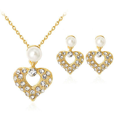 18K Gold Plated Heart Hollow Pearl Rhinestone Necklace Earrings Jewelry Set