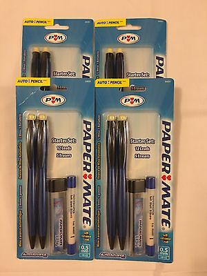 4 Packages - Papermate Auto Advance Mechanical Pencil Starter Set, 0.5mm