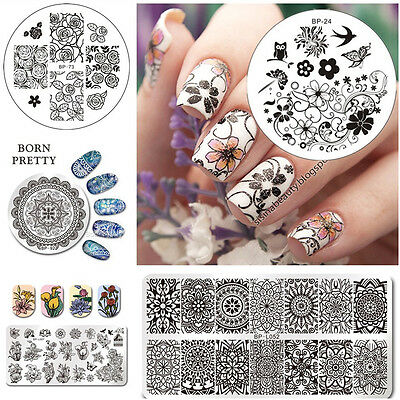 BORN PRETTY Nagel Schablonen Nail Art Stamping Plates Maniküre Blume Muster