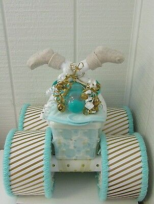 Gold and Mint Green Themed Baby Shower Decor Four Wheeler Diaper Cake Gift
