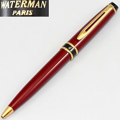 Waterman Expert Red Burgundy & Gold Ballpoint Pen   Old Style Paris France Bin