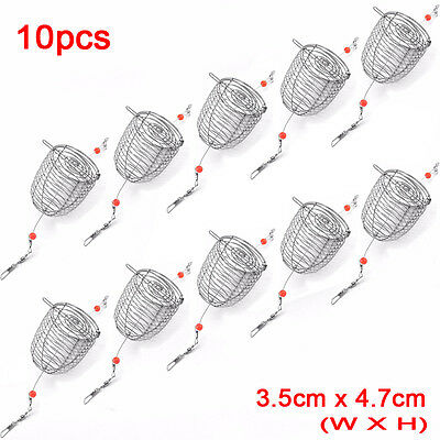 Stainless Steel Wire Fishing Lure Cage Small Bait Basket Feeder Holder Trap