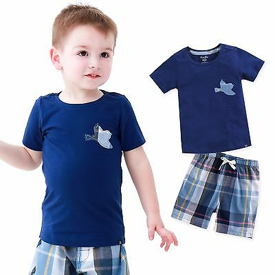 "Vaenait Baby Kids Girls Boys Clothes Short Outfit set ""Bird Navy"" 12M-7T"