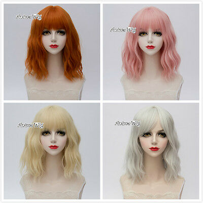 35CM Light Blonde/Orange/Light Pink/Sliver White Short Curly Lolita Cosplay Wig