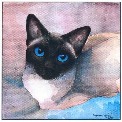 Large Siamese Cat Print From Original Watercolour Painting By Suzanne Le Good