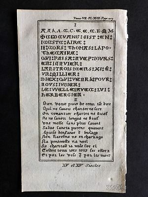 Pluche 1756 Antique Print. 14th & 15th Century Text, Calligraphy