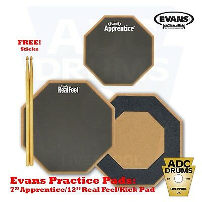 Evans Real Feel Practice Pad Deal + FREE Vic Firth Sticks! (Single/Double/Kick)