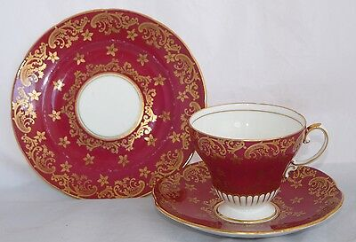 Vintage EB Foley China Trio - Burgundy with Gold Filigree #2918 - Elegant!