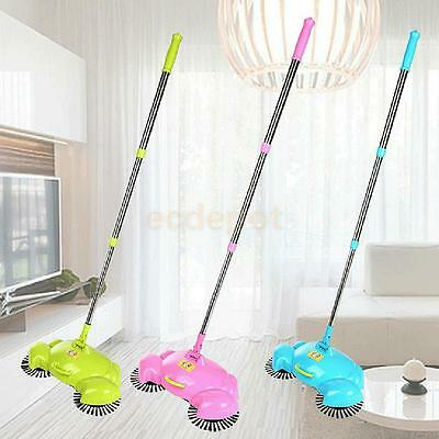 Floor Sweeper With Rotating Brushes Hand Push Sweeping Broom Dust Cleaner Tool