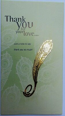 Gold Feather Thank You Bookmark Card