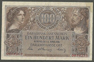 Germany, Occupation Of Lithuania-Wwi 100 Mark, Darlehnskasse Ost Kowno 1918