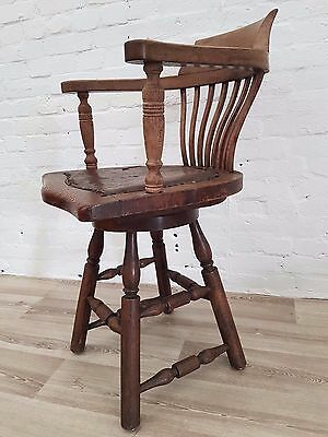 Antique Oak Swivel Captains Chair (DELIVERY AVAILABLE)