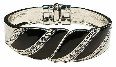 Bulk Lot X 12 Womens Black And Silver Swirl Design Bangle