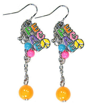 Bulk Lot X 12 Bright Colour Peace Earring With Beads